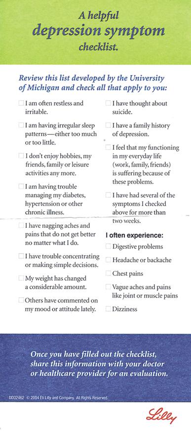 depression checklist